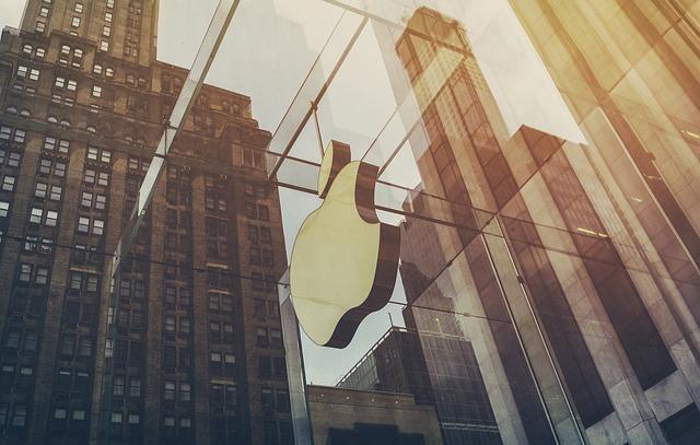 Apple logo on a building